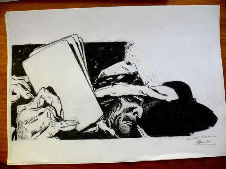 Leccion de dibujo de mi primo, amigo y maestro Antonio Almazán realizado en carbonilla, por ser la primera vez que la utilizo creo que zafa no?