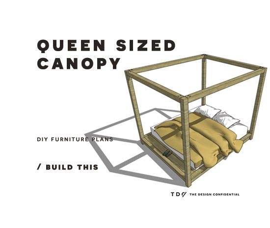 Free DIY Furniture Plans // How to Build a Queen Sized Canopy Bed | The Design Confidential | Bloglovin
