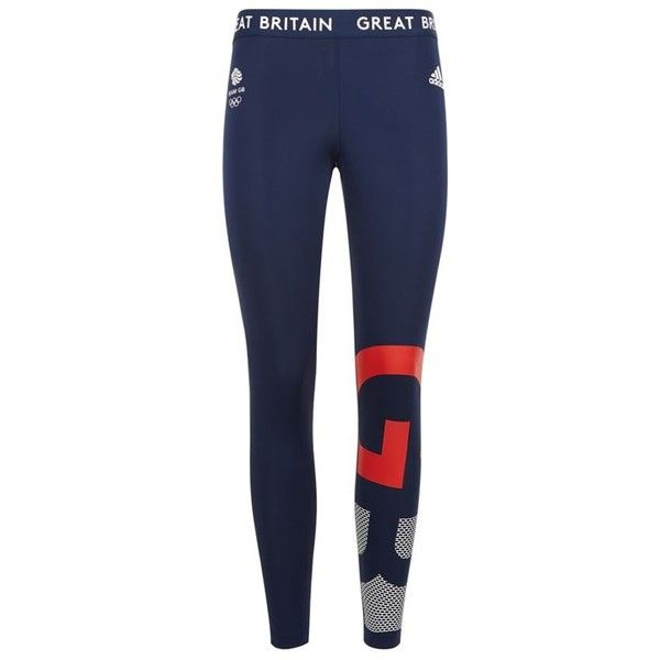 Adidas Originals Team GB Leggings featuring polyvore, women's fashion, clothing, activewear, activewear pants, logo sportswear and adidas originals