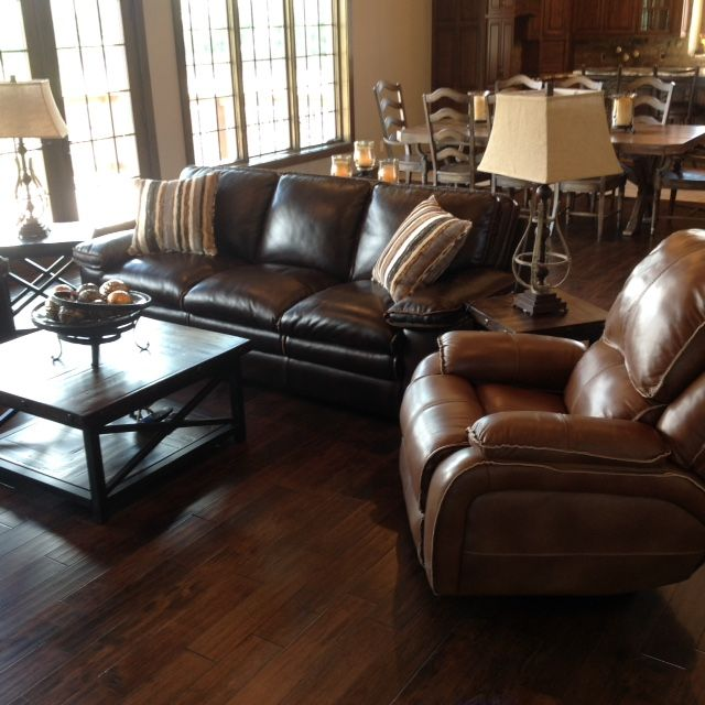 Flexsteel leather sofa and recliner and Flexsteel occasional tables