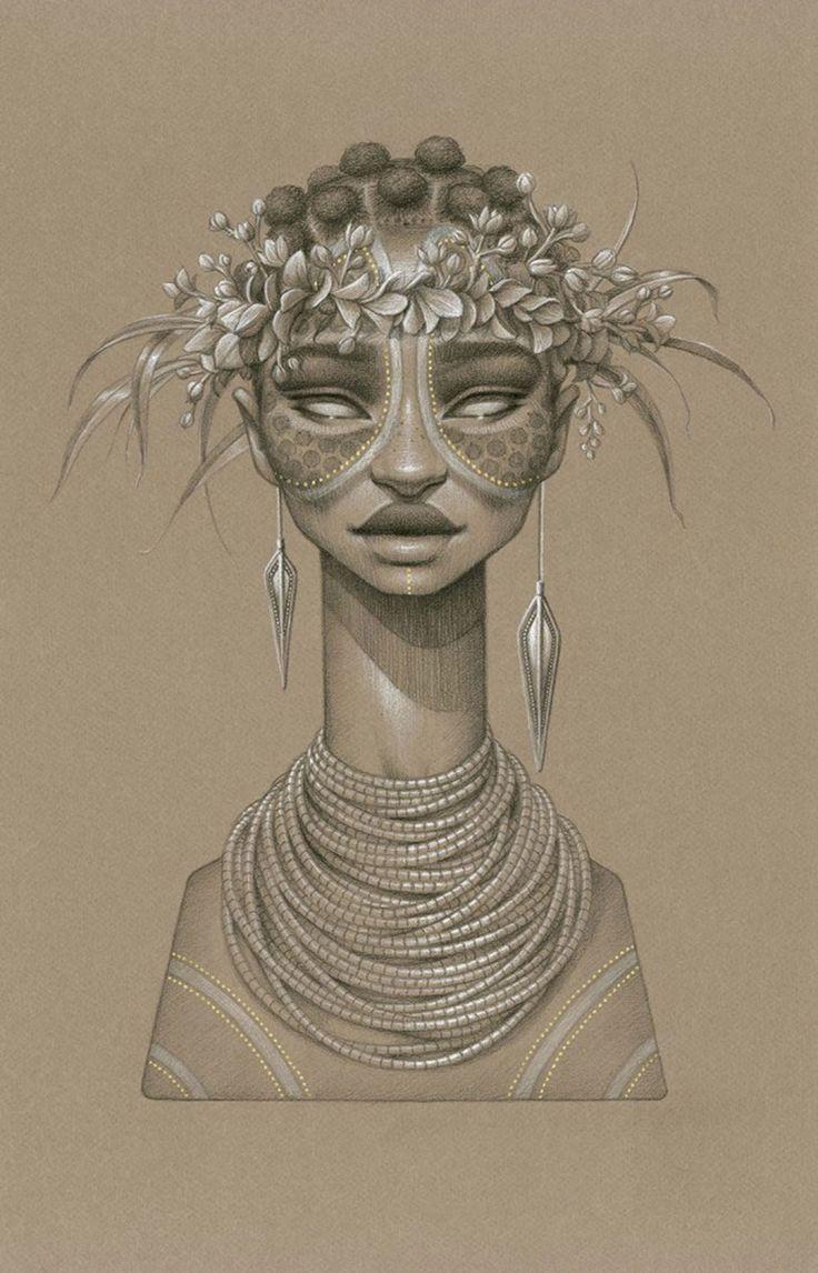 """Sara Golish est une artiste canadiennerésidant à Toronto. Pour marquer le début de l'été, elle a réalisé 10 portraits de déesses africaines du soleil dans une série intitulée """"Sundust"""". Découvrez en images ses oeuvres dessinées au fusain !"""