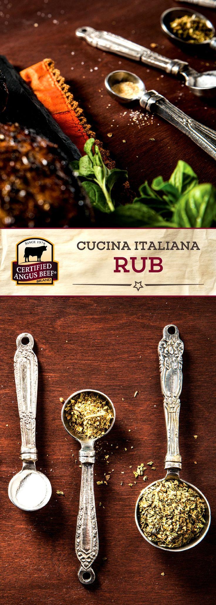 Certified Angus Beef®️️ brand Cucina Italiana Rub combines basil, oregano, and garlic powder for a deep flavor! This EASY seasoning mix brightens any beef recipe.  #bestangusbeef #certifiedangusbeef #steakrub #seasoning