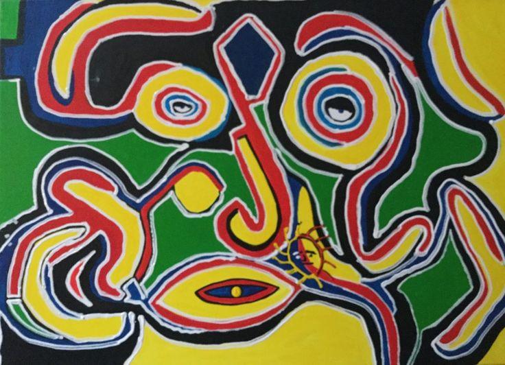 Drie ogen, schilderij van Rene Klerks | Abstract | Modern | Kunst