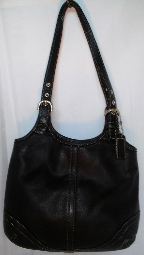 Coach Tote Satchel Black Leather Handbag Purse 4983 White Sching Superb Shape Shoulderbag