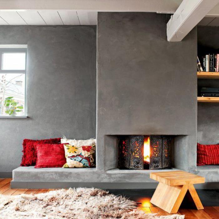 manteau de cheminée béton, décor extravagant en bois et béton