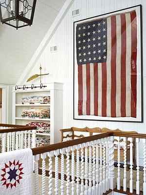 Framed antique flag, love this for the top of the stairs