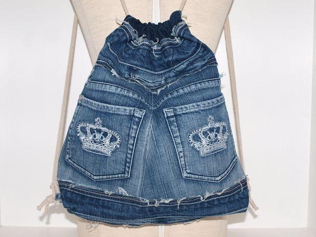 """Turnbeutel - Turnbeutel  Jeans """"Used""""  Upcycling  - ein Designerstück von AnTaschen bei DaWanda"""