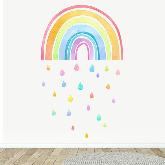 Fabric Wall Decal Large Rainbow Watercolour Kids Room Decor