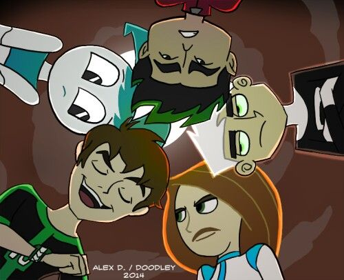 "Ben ten, Kim possible, danny phantom, jake long and xj-9---- Love how Danny and Kim are just like ""we are professionals... and so done."""