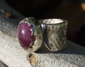 Purple Ruby One of a Kind Ring, Made with Ancient Cuttlefish Casting Technique and Unique Hand Carved Bezel