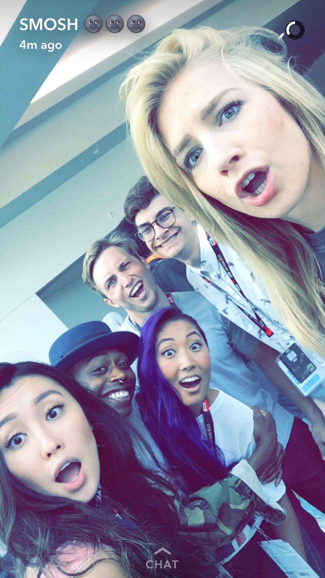Smosh Squad - L to R - Olivia, Keith, Mari, Shayne, Noah and Courtney