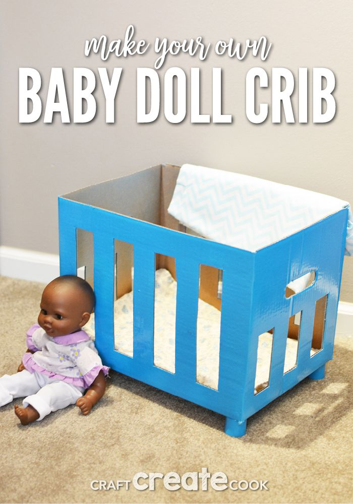 32f611fdd5c Reuse a box to create a DIY baby doll crib for hours of fun!