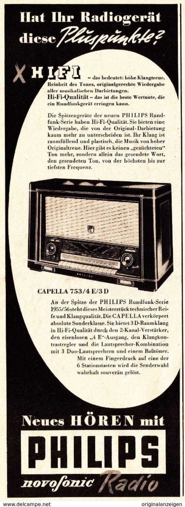 Werbung - Original-Werbung/ Anzeige 1955 - PHILIPS NOVOFONIC HIFI - RADIO - ca. 110 x 310 mm