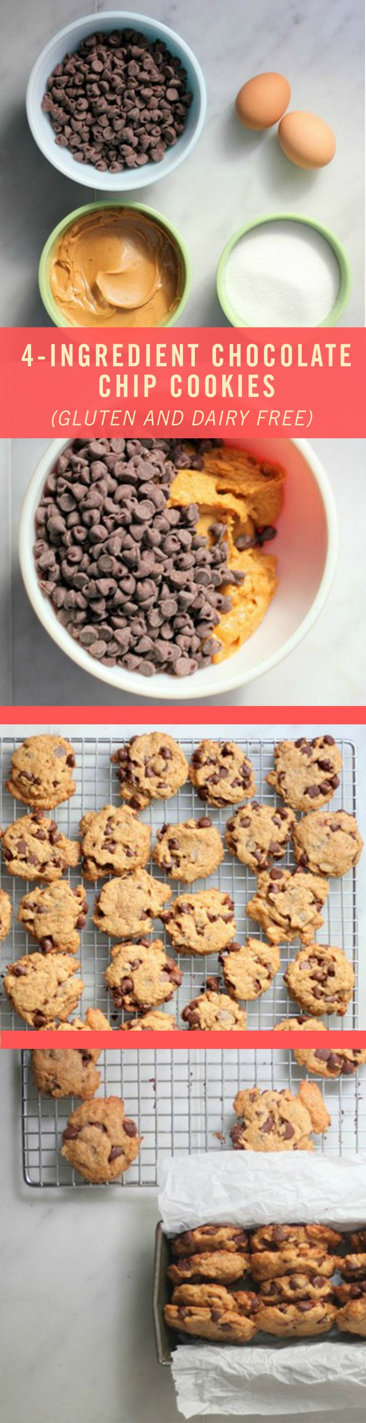 These gluten-free Chocolate Chip Cookies require just four ingredients: peanut butter, sugar, eggs, and chocolate chips. And the best part? You would never know that these are gluten-free. The texture is crispy, yet crumbly. This recipe is absolutely a keeper.