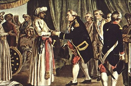 Suffren meeting with ally Hyder Ali in 1783. J.B. Morret engraving, 1789.