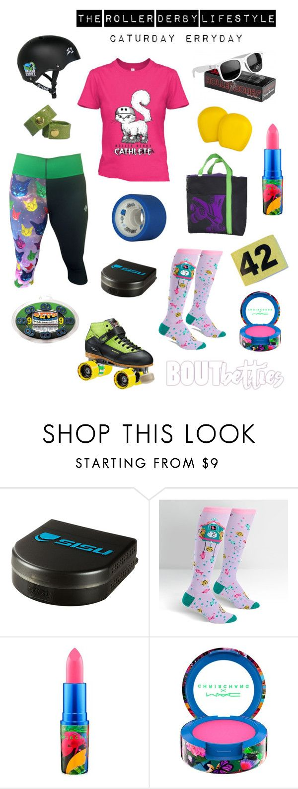 """#RollerCon2016 exclusive! Featured vendors straight from the Vendor Village. The roller derby lifestyle:""""Caturday Erryday"""". Inspirational mood board design by Bout Betties on Polyvore.  #friyayfashion featuring Left Turn Clothing, Roller Bones, Pivot Star, Sock It To Me, Roller Derby Elite, S1 Helmet Co, Juice Wheels, 187 Killer Pads, Wicked Skatewear, Dottie Brand Accessories, Derby Warehouse, Blood and Thunder, Skate Geek and Ronky Tonk Art"""
