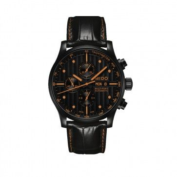 Mido Multifort Chronograph Watch - Black-Orange. This 44mm chronograph is made with the PVD (Physical Vapor Deposition) surface treatment method. Protects effectively against scratching and corrosion. Camaro logo etched on the side of the case. Water resistant up to 100 meters. Extra large black leather straps. 2-year Manufacturer's Warranty. SKU: SK3-XT137