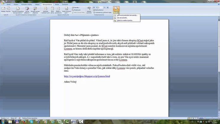 Hromadné oslovení na jméno např. dopis - Hromadná korespondence