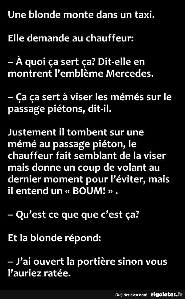 Une blonde monte dans un taxi. - RIGOLOTES.fr
