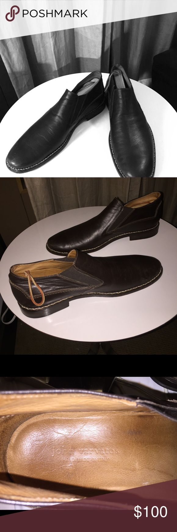 Brown John Varvatos hand made leather soled shoes Excellent condition (worn 3 times) amazingly comfortable Italian hand made slip ons with a leather sole. John Varvatos Shoes Loafers & Slip-Ons