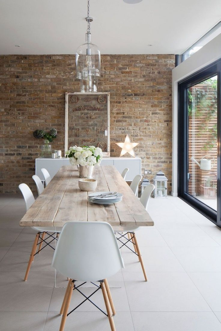 Table Brick Wall Dining Table White Furniture Wall Dining Table Dining Room Design Brick Decor