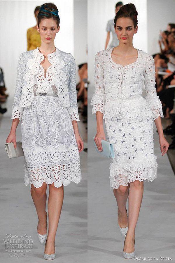 oscar de la renta spring 2013 crochet dress on the right...idea for weekend of attire