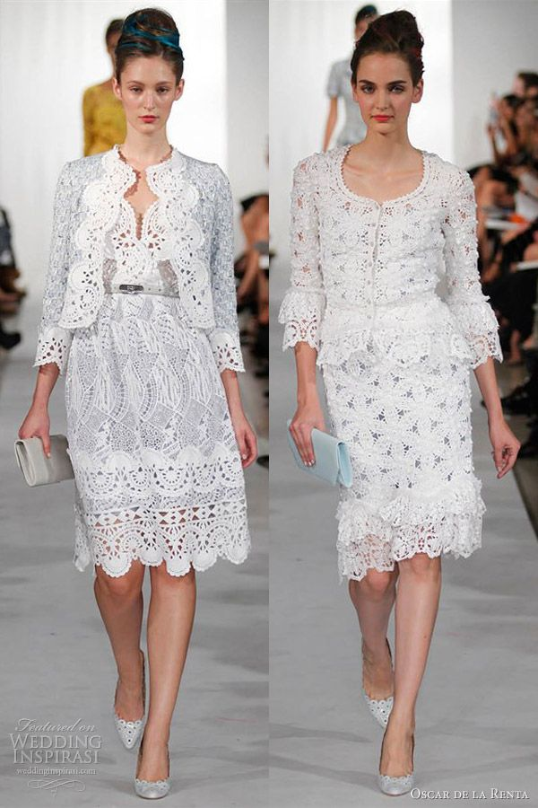 oscar de la renta spring 2013 crochet dress on the right...idea for weekend of attire