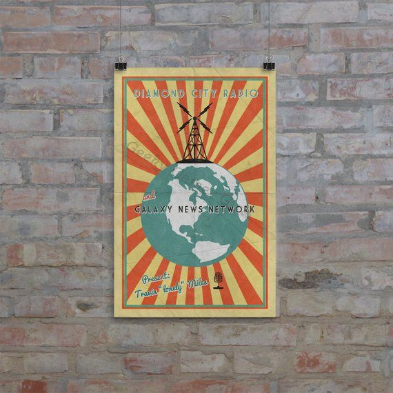Fallout Poster Diamond City Radio Poster Vintage Look Print Videogame Art Galaxy News Network Poster Geek Gift In 2020 Fallout Posters Vintage Posters Diamond City