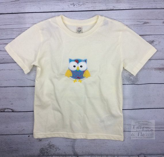 Cream T Shirt  Owl Motif  Age 5-6  Organic Cotton  by TillyandFlo