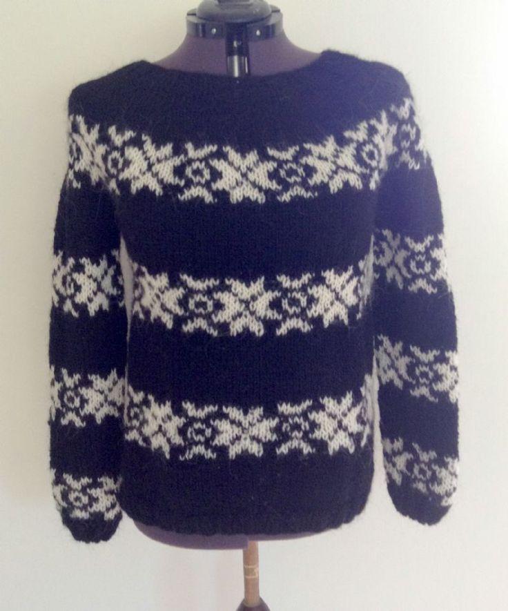 Sarah Lund sweater med originalt mønster og 3 ærmeborte