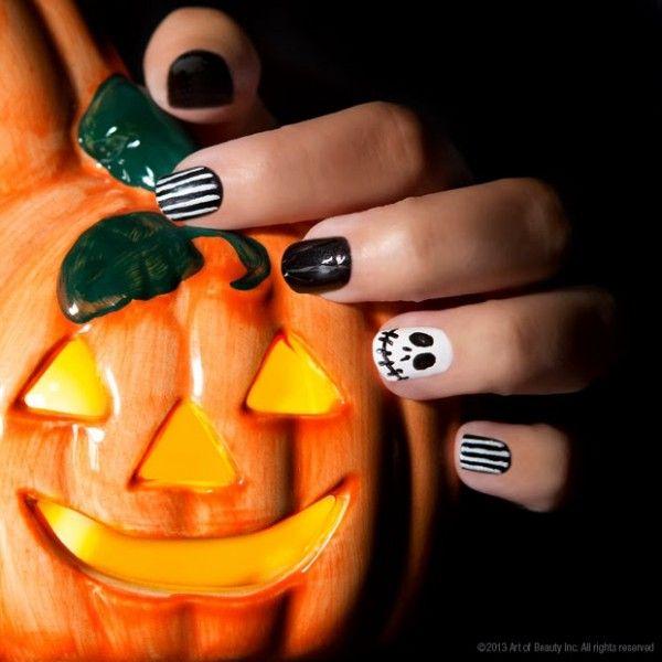 zoya nail polish zoya nail care treatments and zoya hot lips lip gloss jack the skeleton halloween nail art with zoya - Halloween Nightmare