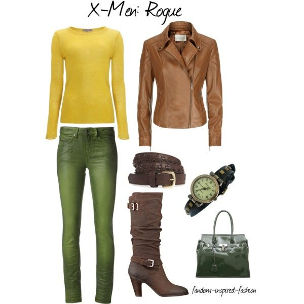 """""""X-Men's Rogue Inspired Outfit"""" by fandom-inspired-fashion on Polyvore. Inspired by her comics outfit, the yellow and green bodysuit is replaced by a long sleeved yellow sweater and green jeans. I kept the brown belt, jacket and boots, and added a green watch and bag."""