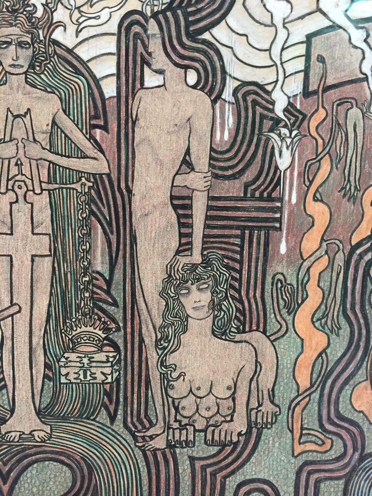 Detail: Zang der tijden 1893 krijt en potlood op karton Jan Toorop (1858 - 1928)