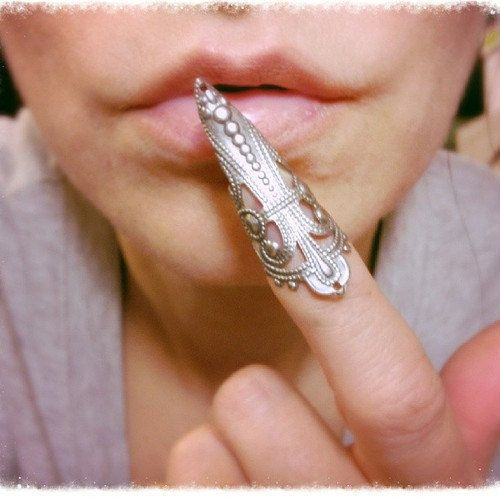 Nail Ring Nail Claw Filigree Ring by ravenevejewelry on Etsy, $10.00