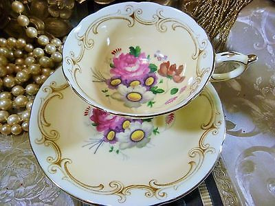 Paragon Tea Cup And Saucer Peach Pink Rose U0026 Floral Scroll Trim Gold Trim  1939