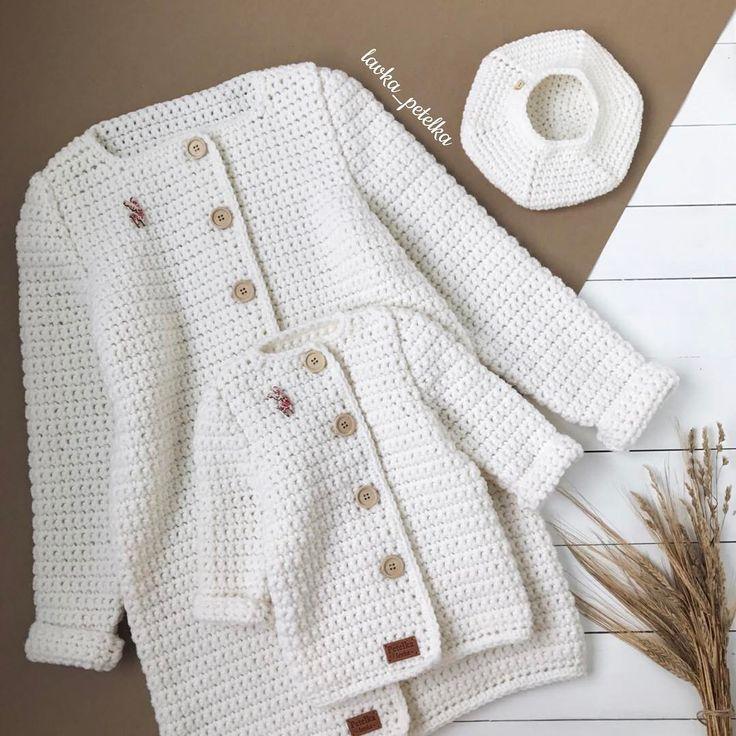 Завидую Белой завистью тем родителям,чьи дети умеют носить белый цвет✨✨✨ Нежнейший комплект для мамы-дочи #lavka_petelka #любовь_с_первой_петельки