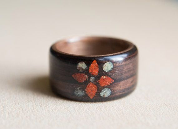 Wood ring with flower shaped stone inlay ebony and by MoonLoops