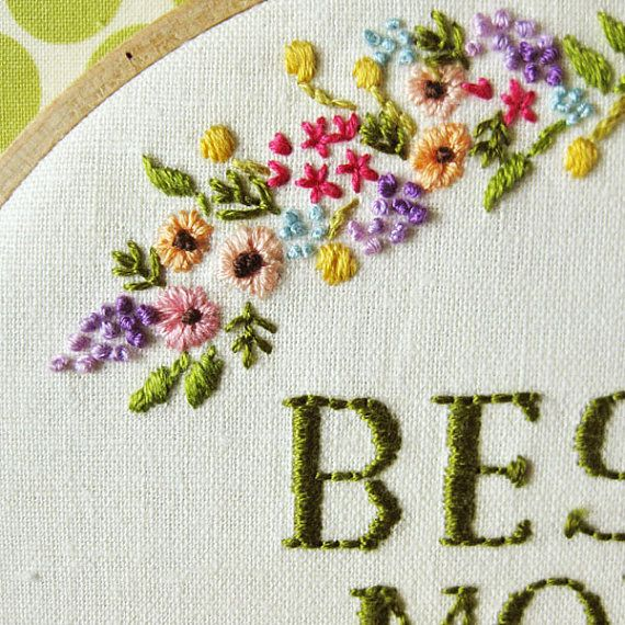 Mother's Day Embroidery Hoop spring flowers on ivory by oktak