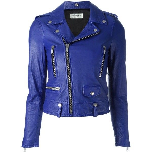 Saint Laurent classic motorcycle jacket ($4,265) ❤ liked on Polyvore featuring outerwear, jackets, blue, leather, leather biker jackets, blue jackets, royal blue jacket, leather moto jacket and blue biker jacket