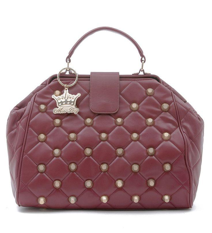 Borsa a mano Mia Bag Doctor Bag rossa in eco-pelle trapuntata