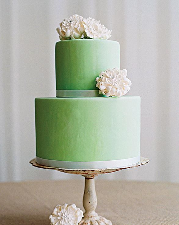 Green wedding cake with white flowers. Simple and elegant.