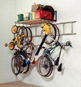 amazoncom 4foot garage storage shelf and bike rack with ladder hooks