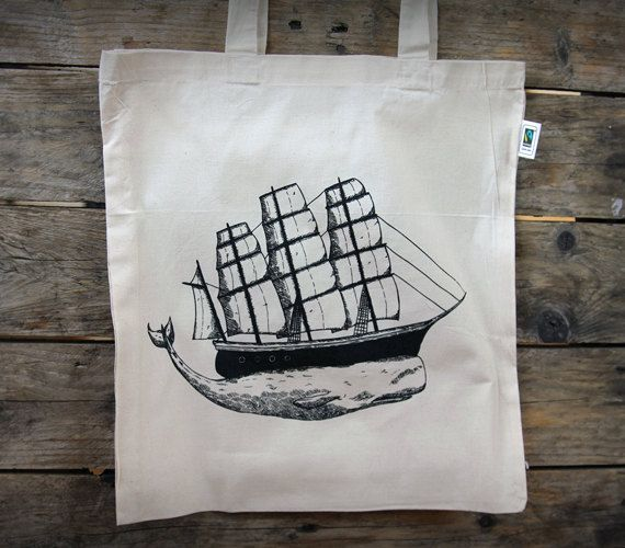 The Whale fair trade tote bag free shipping by OurBrokenHouse, kr200.00
