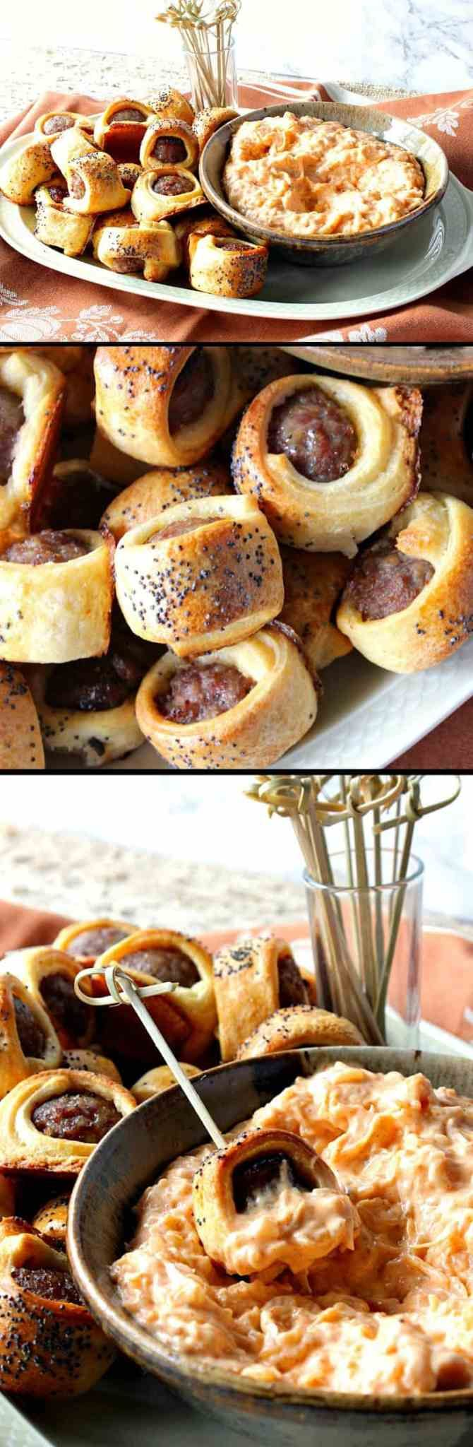 Easy Oktoberfest Crescent Wrapped Bratwurst Bites with Sauerkraut Dipping Sauce …