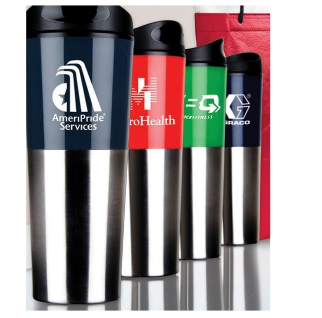 "20oz Tall Travis Travel Tumbler  Large capacity double wall insulation travel tumbler. Stainless steel and bold color acrylic outer wall. Plastic liner. Plastic snap-on lid with silicone gasket and rotation lock prevents spills. Non-slip bottom. Not microwave or dishwasher safe.  8 3/4"" H x 3 1/4"" Diameter [ NMPRD-HWXDM ]   100pcs: $7.99 1 color 1 location"