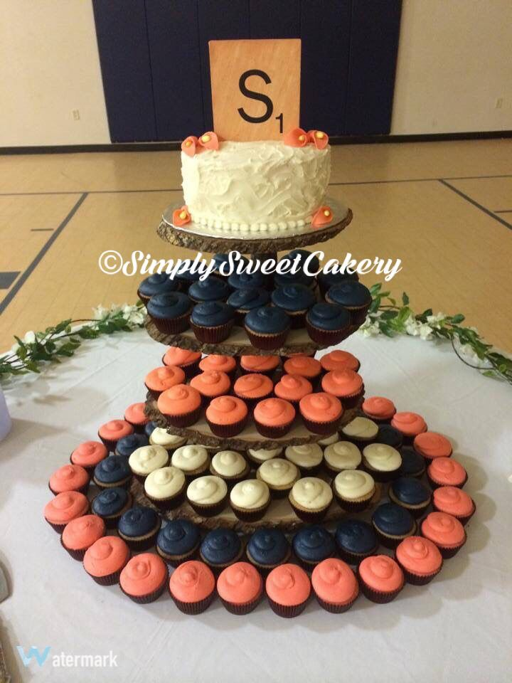 Navy and coral rustic wedding cupcakes by Simply Sweet Cakery Statesboro