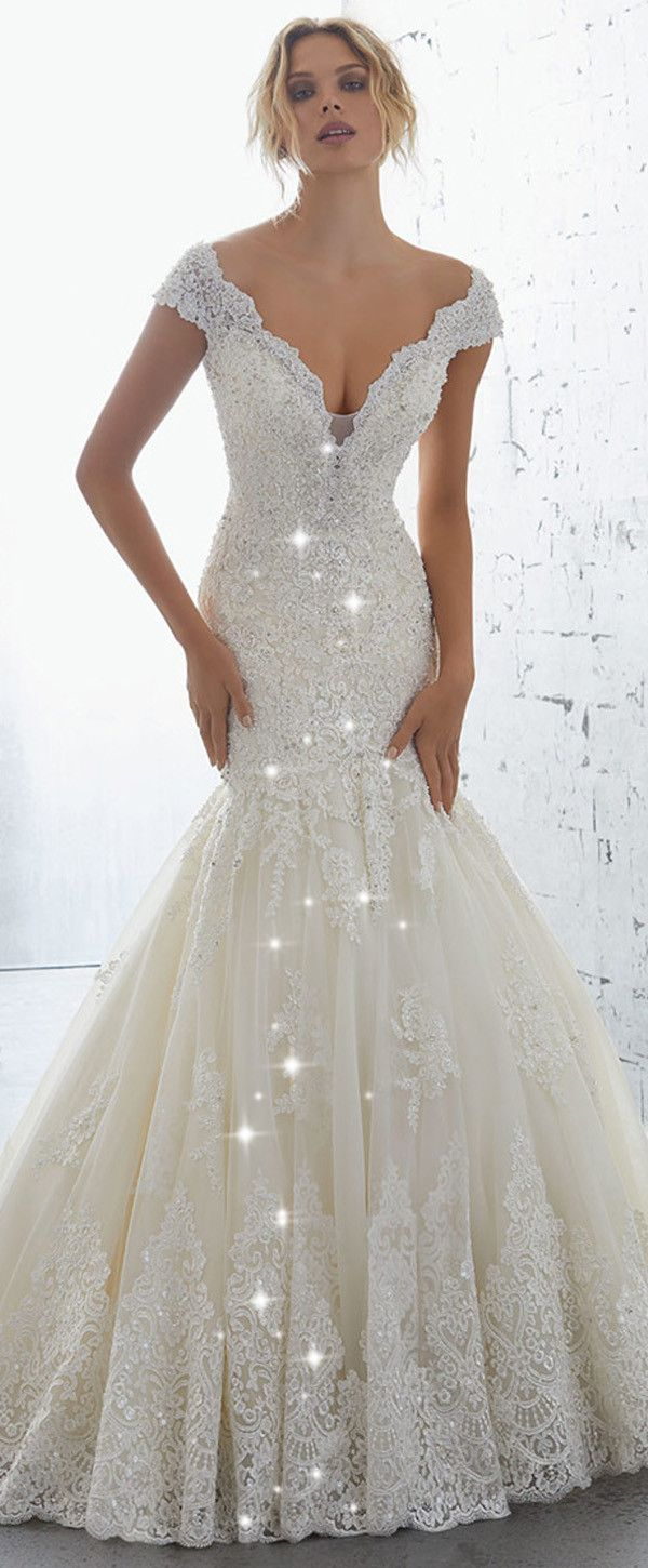 NEW! Junoesque Tulle & Organza V-neck Neckline Mermaid Wedding Dress With Beaded Lace Appliques