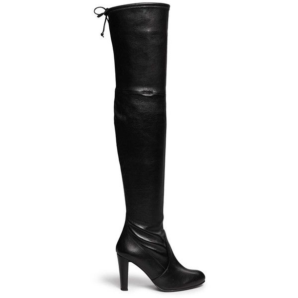 Stuart Weitzman 'Highland' stretch leather thigh high boots ($875) ❤ liked on Polyvore featuring shoes, boots, black, leather thigh boots, leather boots, over the knee boots, tall boots and black boots