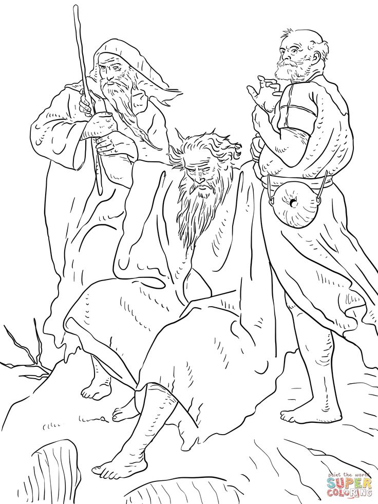 free coloring page of Aaron helps