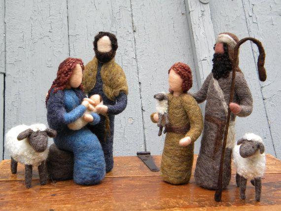 So beautiful!! Needle Felted Nativity Set Mary Joseph Jesus by TheMermaidsMuse…